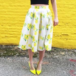 Lemon Print Midi Skirt #011